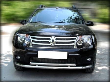 Renault Duster 2011-наст.вр.-Дуга передняя по низу бампера радиусная двойная d-60+53